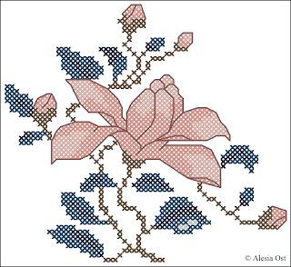 flower, magnolia, floral, oriental, Japanese, cross-stitch, back stitch, cross-stitch scheme, free pattern, x-stitchmagic.blogspot.it, вышивка крестиком, бесплатная схема, punto croce, schemi punto croce gratis, DMC, blocks, symbols