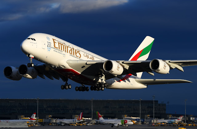 emirates airbus a380-800 at vienna airport