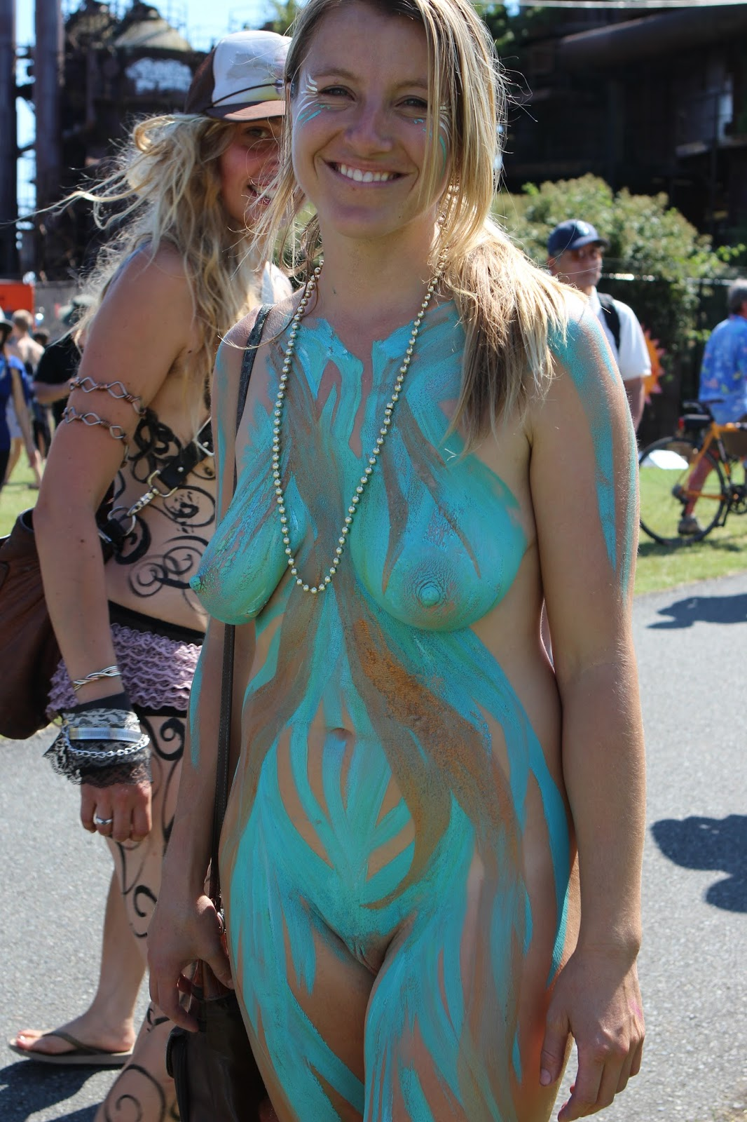 Speaking, nude women body paint public