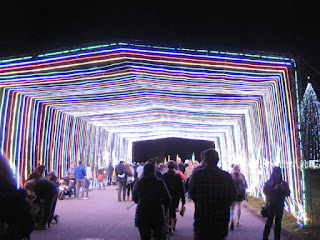 Visitors stroll through a tunnel of lights, Vasona Lake County Park, Los Gatos, California
