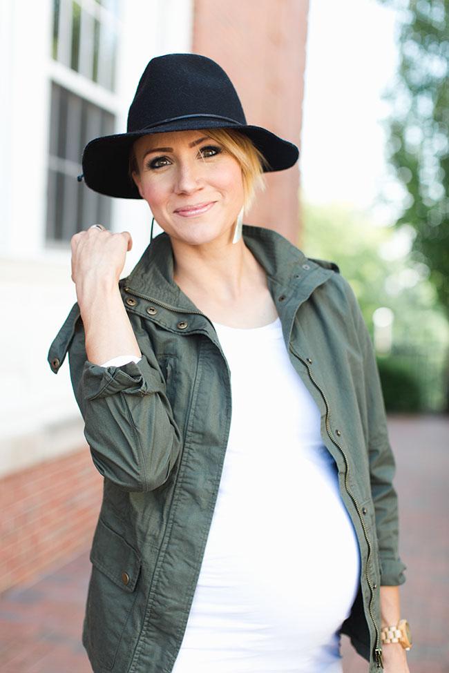 Black Wool Fedora and Military Jacket Maternity Style - ONE little MOMMA 790e481ba08