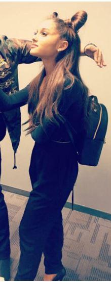 Adriana Grande with Henri Bendel backpack