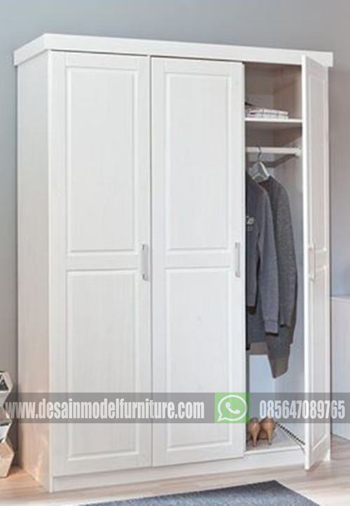 Lemari pakaian mahoni minimalis 3 pintu cat duco putih paling mewah