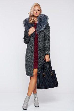 palton dama cu guler blana
