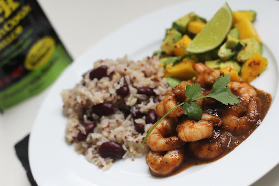 jerk king prawns with rice and peas recipe