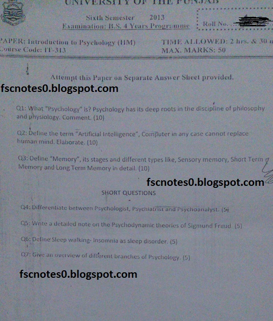 BS (Hons) IT Information Technology Past Papers Semester 6 Introduction to Psychology (HM) 2013 Asad Hussain