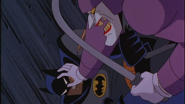Joker struggling with Batman in Batman: Mask of the Phantasm 1993 animatedfilmreviews.filminspector.com
