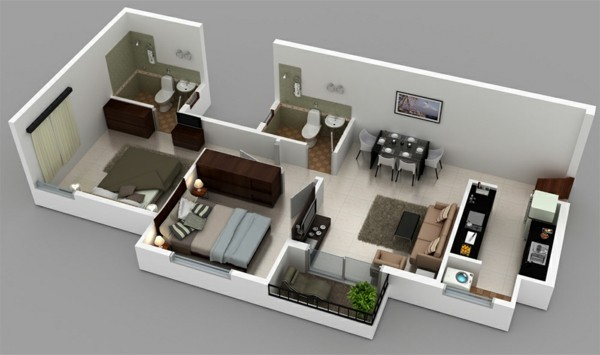 3 bedroom floor plans for narrow apartment
