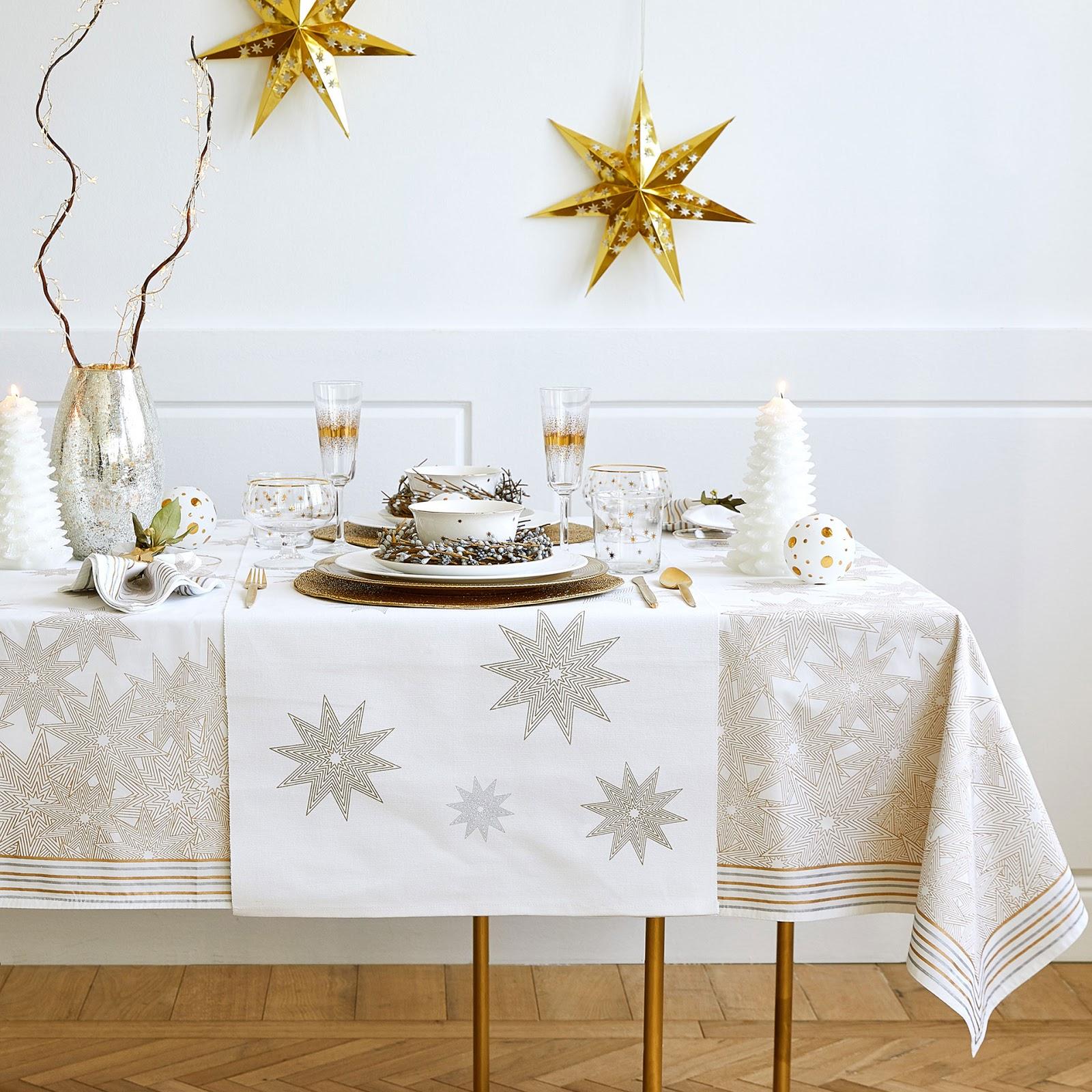 Para o natal mesa posta dourada e prateada decora o e for Zara home manteles mesa