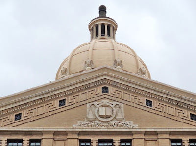 Facade detail at historic Harris County Courthouse, Houston, Texas