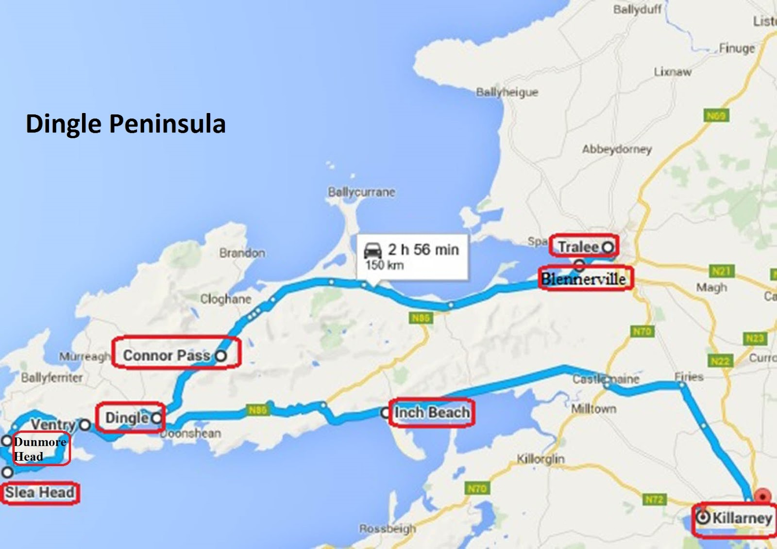 Dingle Map Of Ireland.Annie And Rich S Travel Adventures Ireland Southern Road Trip