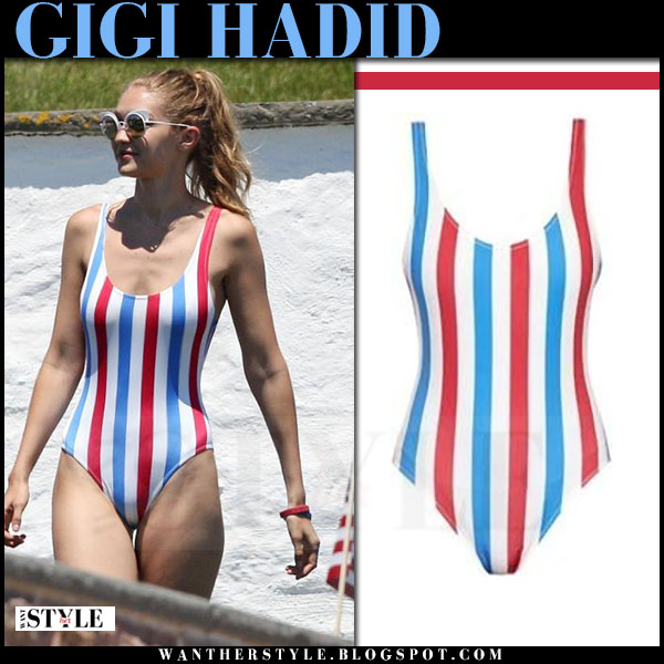 Gigi Hadid in striped red white and blue swimsuit solid striped anne marie americana stripe what she wore