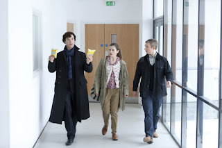 Benedict Cumberbatch Martin Freeman and Loo Brealey in The Reichenbach Fall