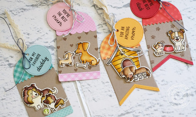Sunny Studio Stamps: Puppy Dog Kisses Puppy Parents Build-A-Tag Puppy Themed Mom and Dad Tags by Lexa Levana
