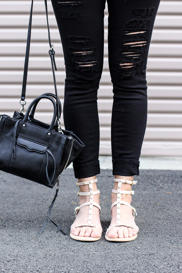 rebecca minkoff flat leather gladiator sandals with studs