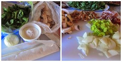 Milhojas de espinacas, champiñones y requesón