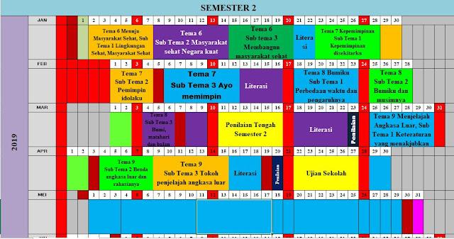 Jadwal Pelajaran Kurikulum 2013 SD Kelas 6 Semester 2 Tahun 2019-http://www.librarypendidikan.com/