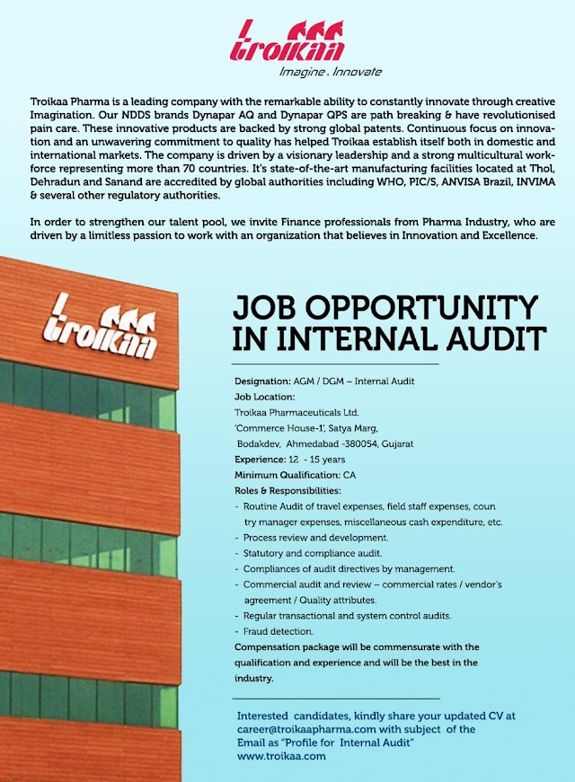 Job opening at troikaa pharmaceuticals Apply now.