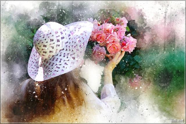 ảnh nghệ thuật cô gái và hoa