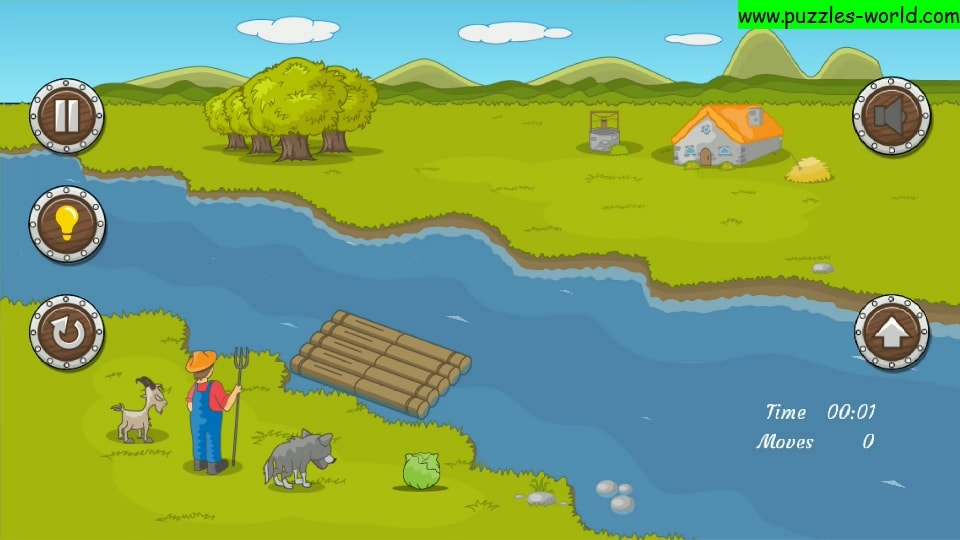 River crossing puzzle : Farmer, Goat, Wolf and Cabbage