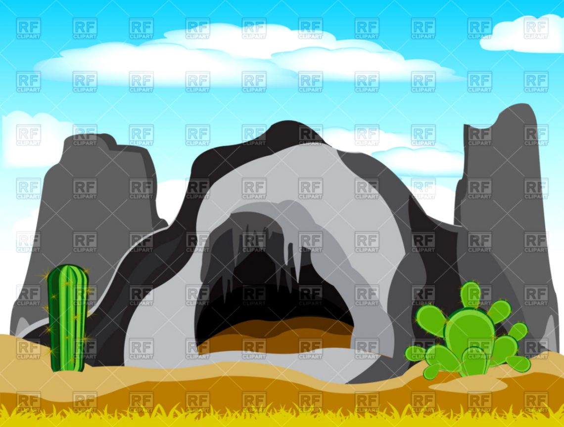 cave in grief in desert vector illustration of nature landscape [ 1140 x 864 Pixel ]
