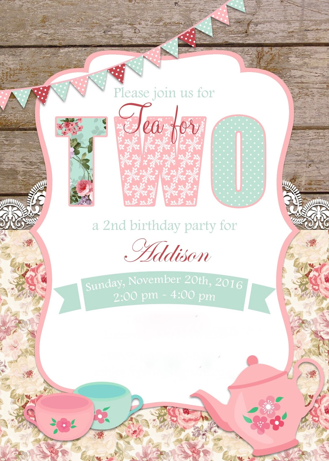 When I Started Researching Two Year Old Birthday Parties For Tea Kept Popping Up Then Found This Invitation And The Theme Was Sealed