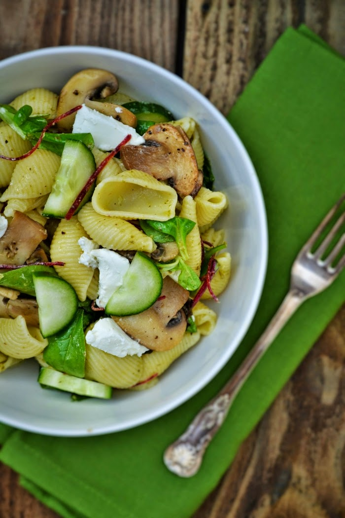 a close up of Conchiglioni Pasta Salad with Sautéed Mushrooms and Goats' Cheese