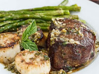 Scampi-Style Steak & Scallops with Roasted Asparagus
