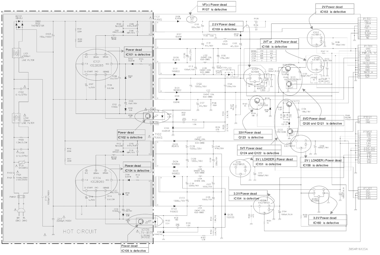 power supply schematic fault location defective components click on picture to enlarge  [ 1600 x 1073 Pixel ]