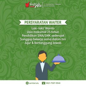 Loker Lampung Terbaru di Rumah Makan Sambel Alu Januari 2018.