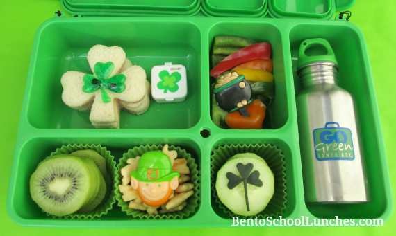 Happy St. Patrick's Day Clover bento school lunch