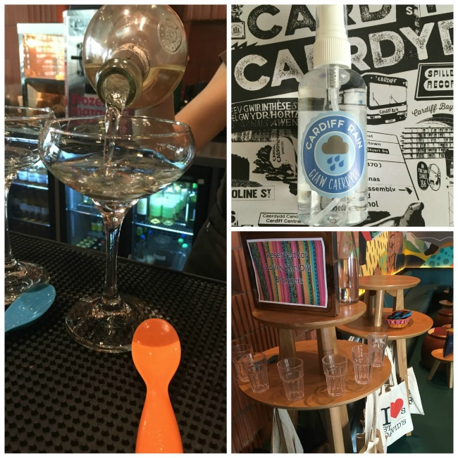 collage of Prosecco being poured, Cardiff rain water bottle and welcome blogger sign