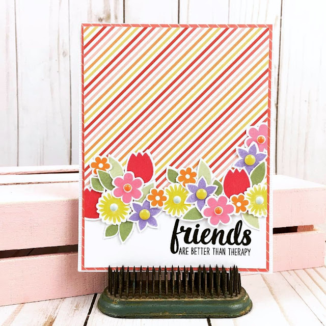 Sunny Studio Stamps: Friends & Family Flower Border Card by Becki Adams