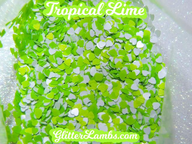 "Glitter Lambs ""Tropical Lime"" Loose Glitter Mix Craft Glitter Nail Art Glitter White Hearts Neon Lime Green Hearts Glitter"