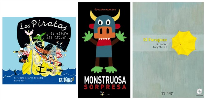 Libros infantiles: las piratas y el tesoro arcoíris, monstruosa sorpresa, el paraguas