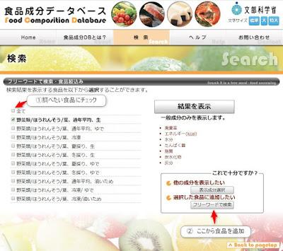 食品成分表 使い方2