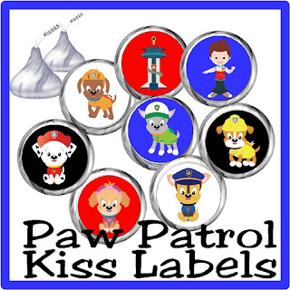 Bring a little fun and chocolate kisses to your Paw Patrol party with these Hershey kiss printable labels. These chocolate candies make a great party favor or dessert for your treats table.