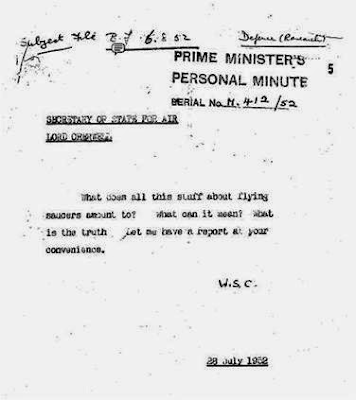 Churchill Memo Re Flying Saucers 7-28-1952