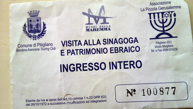 Tickets para a sinagoga de Pitigliano