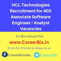 HCL Technologies Recruitment for 400 Associate Software Engineer/ Associate Analyst Vacancies