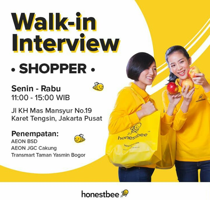 Walk In Interview Kurir Dan Shopper di Honestbee Indonesia