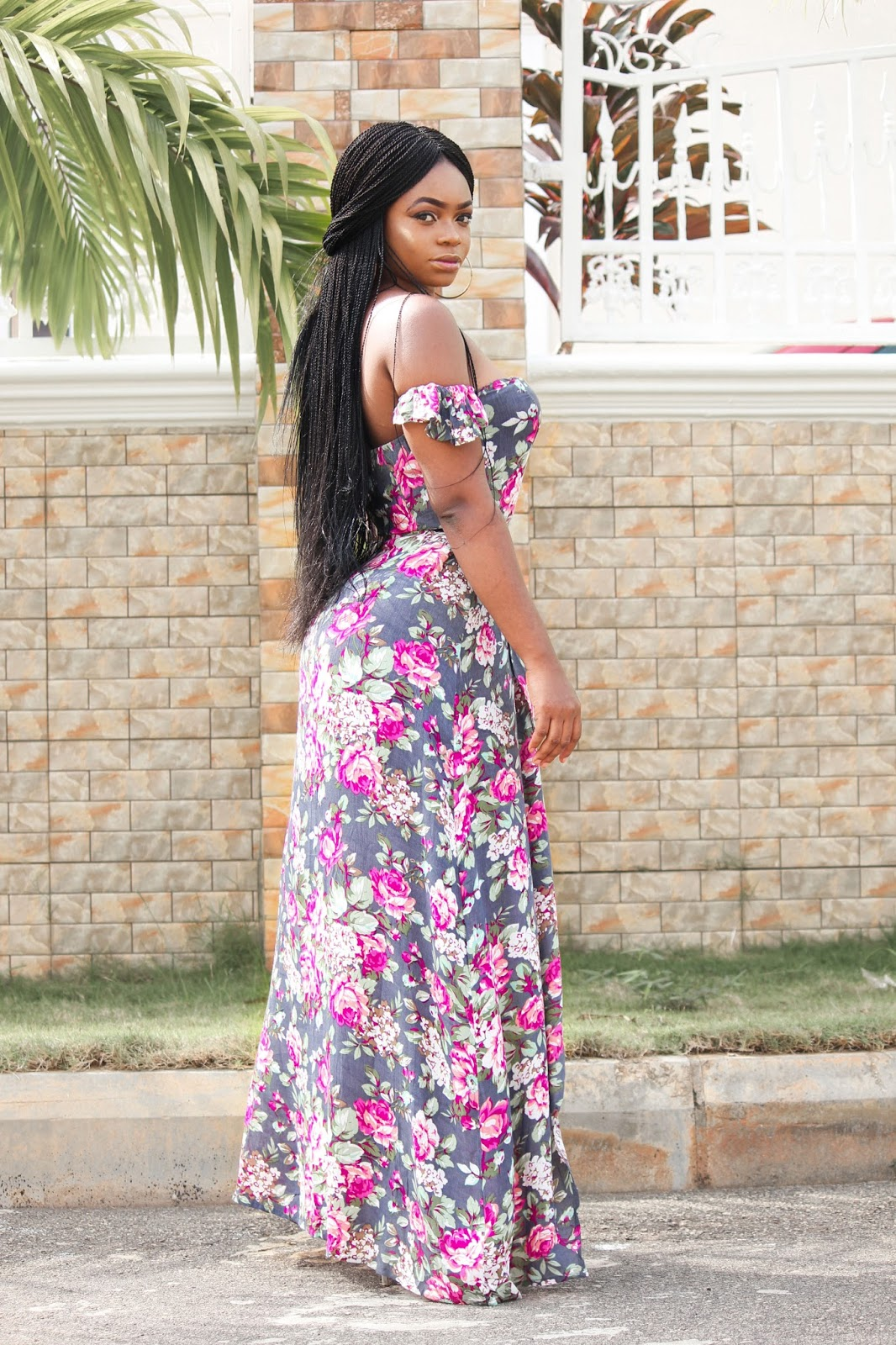OFF SHOULDER FLORAL MAXI - Zaful Off Shoulder Floral Maxi Dress with Zara Sandals