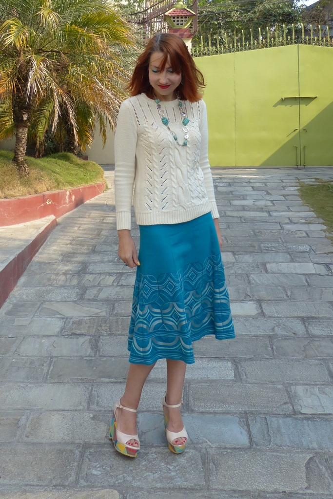 Turquoise skirt, cotton sweater and wedges outfit