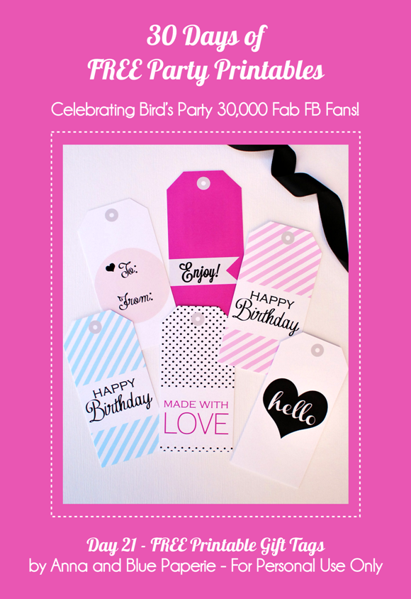 Free Printable Birthday Gift Tags - via BirdsParty.com