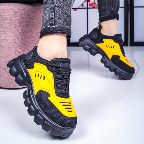 Adidasi cu talpa groasa moderni de dama negri cu galben de calitate