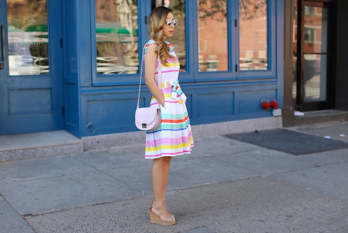 kate spade new york stripe shirtdress, quay sugar and spice sunglasses, tory burch wedges, Loeffler Randall Saddle Cross Body Bag, nyc fashion blog, spring dress, spring style, kate spade dress