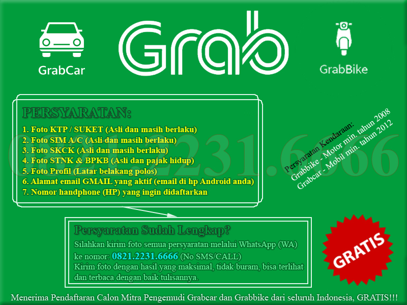 Cara Daftar Grabbike dan Grabcar
