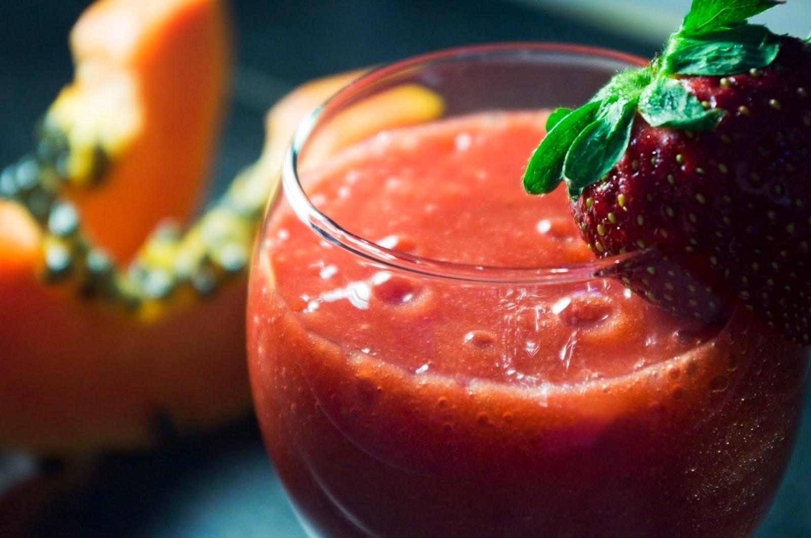 Smothie de papaya y fresas