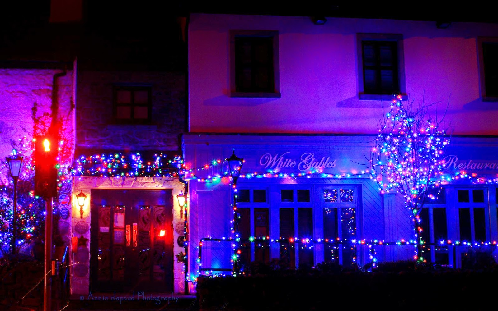 Christmas lights view of the White Gables in Moycullen