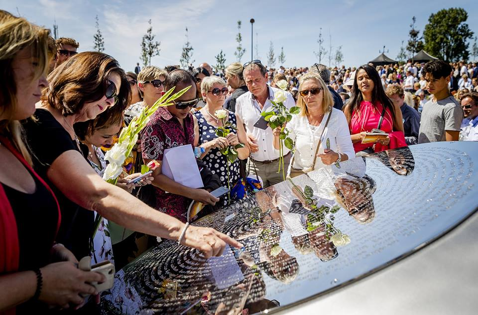 Families and friends attend unveiling of monument for MH17 crash victims